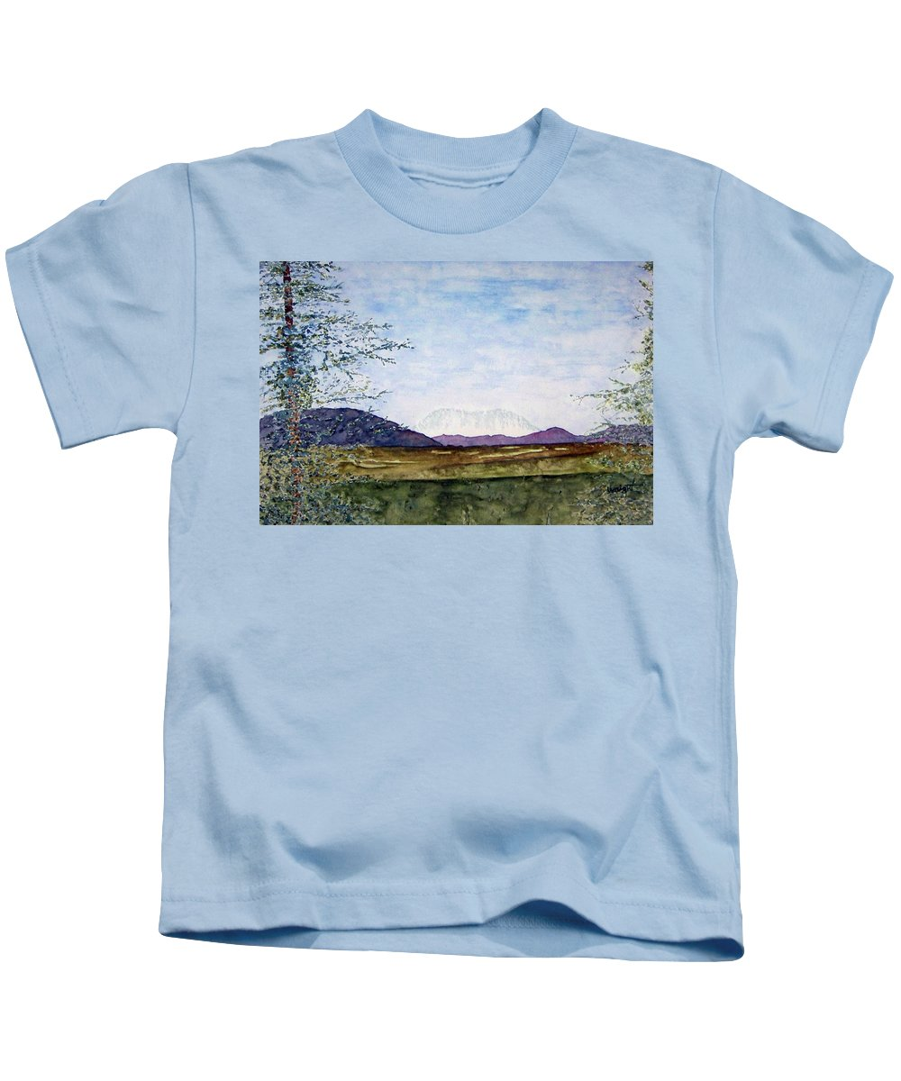 Alaska Art Kids T-Shirt featuring the painting Denali In July by Larry Wright