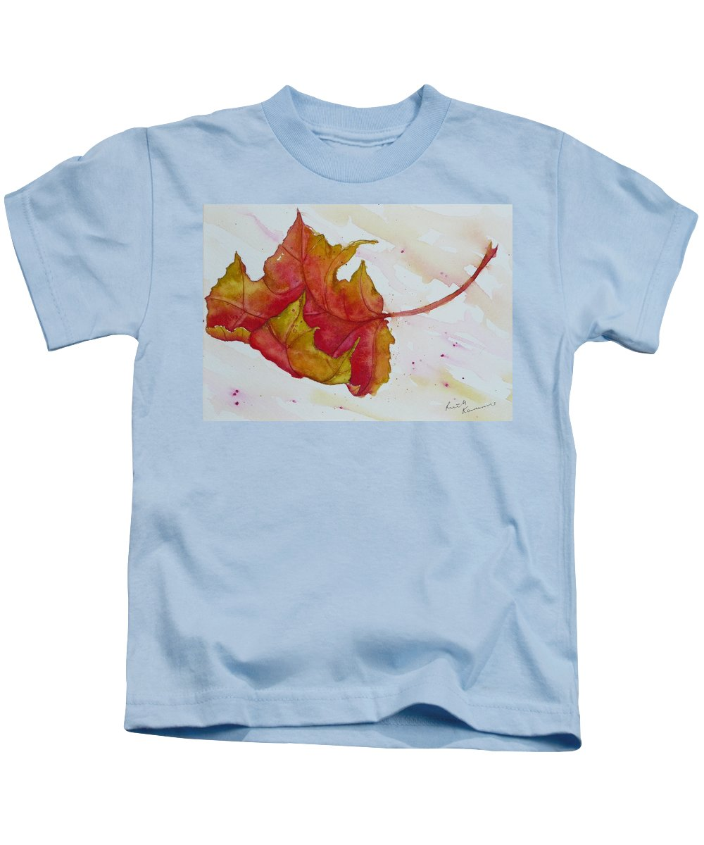 Fall Kids T-Shirt featuring the painting Descending by Ruth Kamenev
