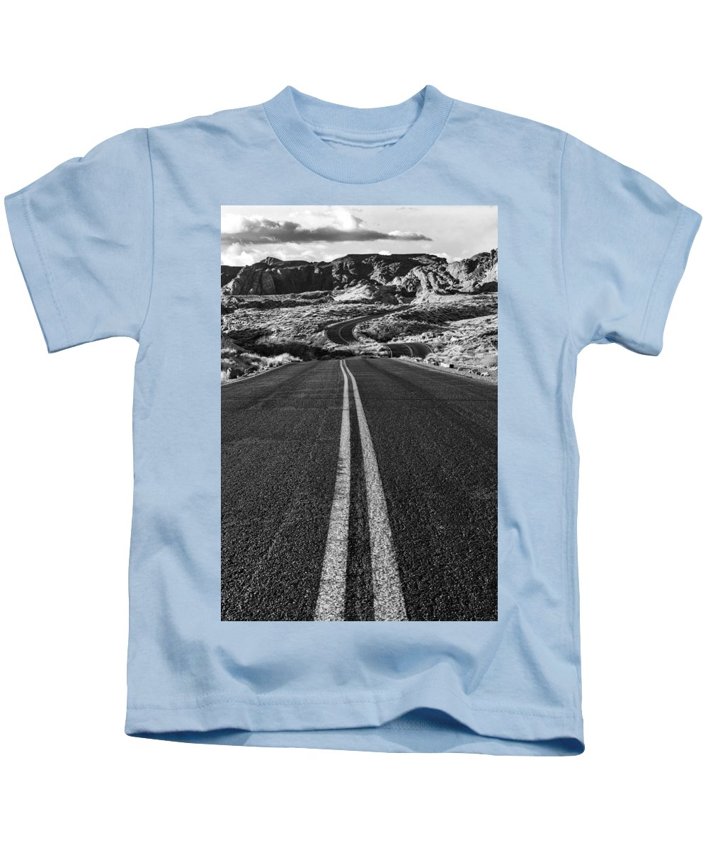 Valley Of Fire Kids T-Shirt featuring the photograph Desert Journey B/w by James Marvin Phelps