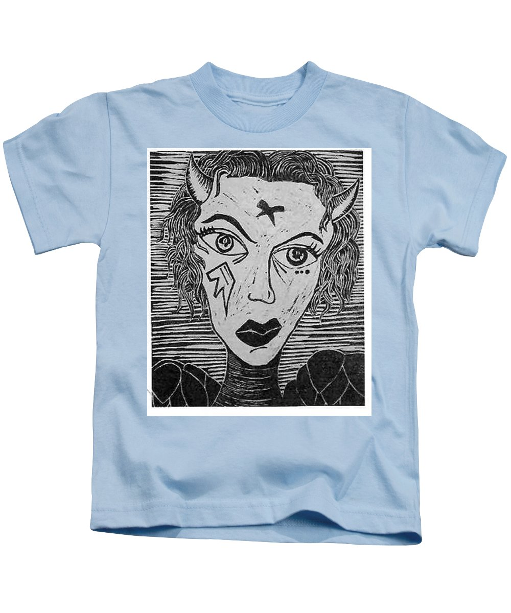 Prints Kids T-Shirt featuring the print Devil Print Two Out Of Five by Thomas Valentine