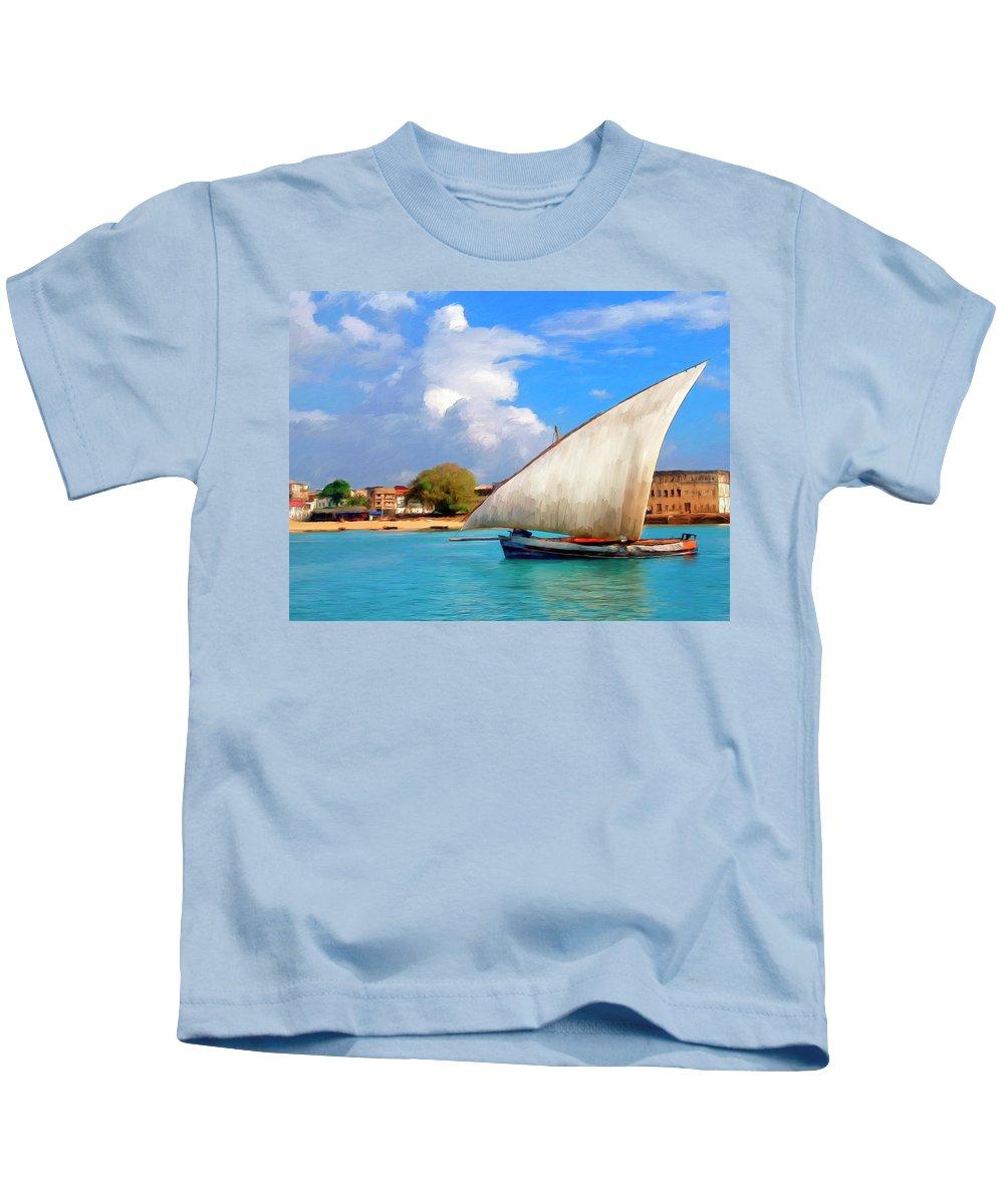 Dhow Off Zanzibar Kids T-Shirt featuring the painting Dhow Off Zanzibar by Dominic Piperata