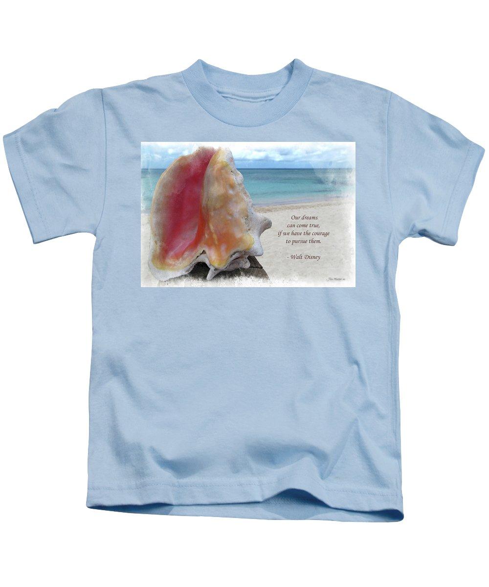 Disney Kids T-Shirt featuring the digital art Disney Inspiration Quote by Joan Minchak