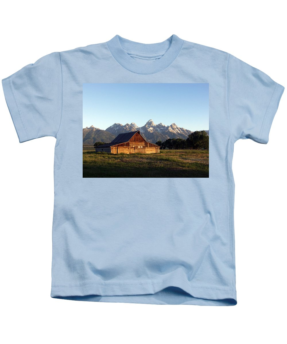 Landscape Yellowstone Grand Tetons Cabin Kids T-Shirt featuring the photograph Dnrd0104 by Henry Butz