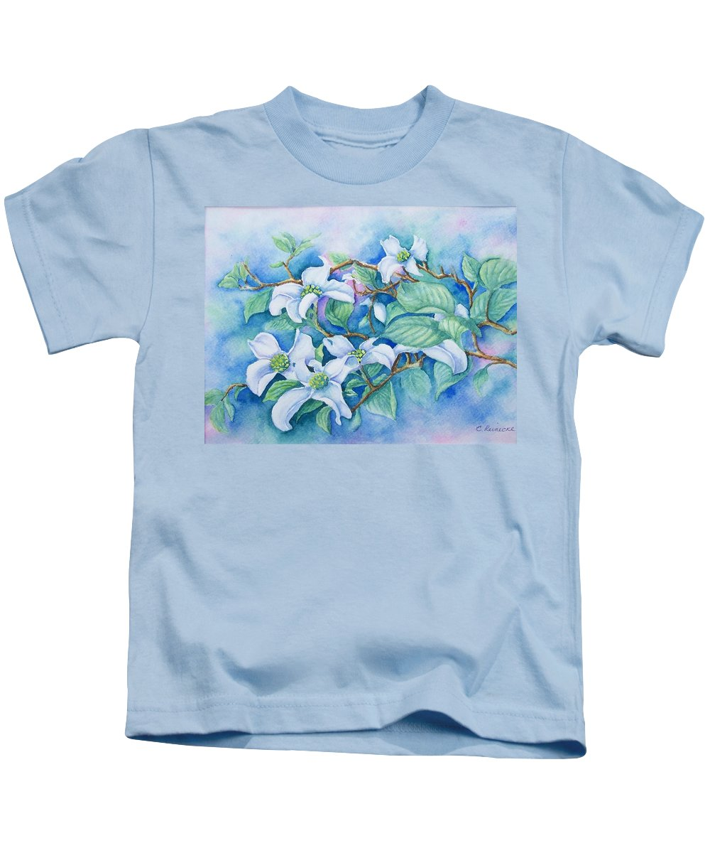 Floral Kids T-Shirt featuring the painting Dogwood by Conni Reinecke