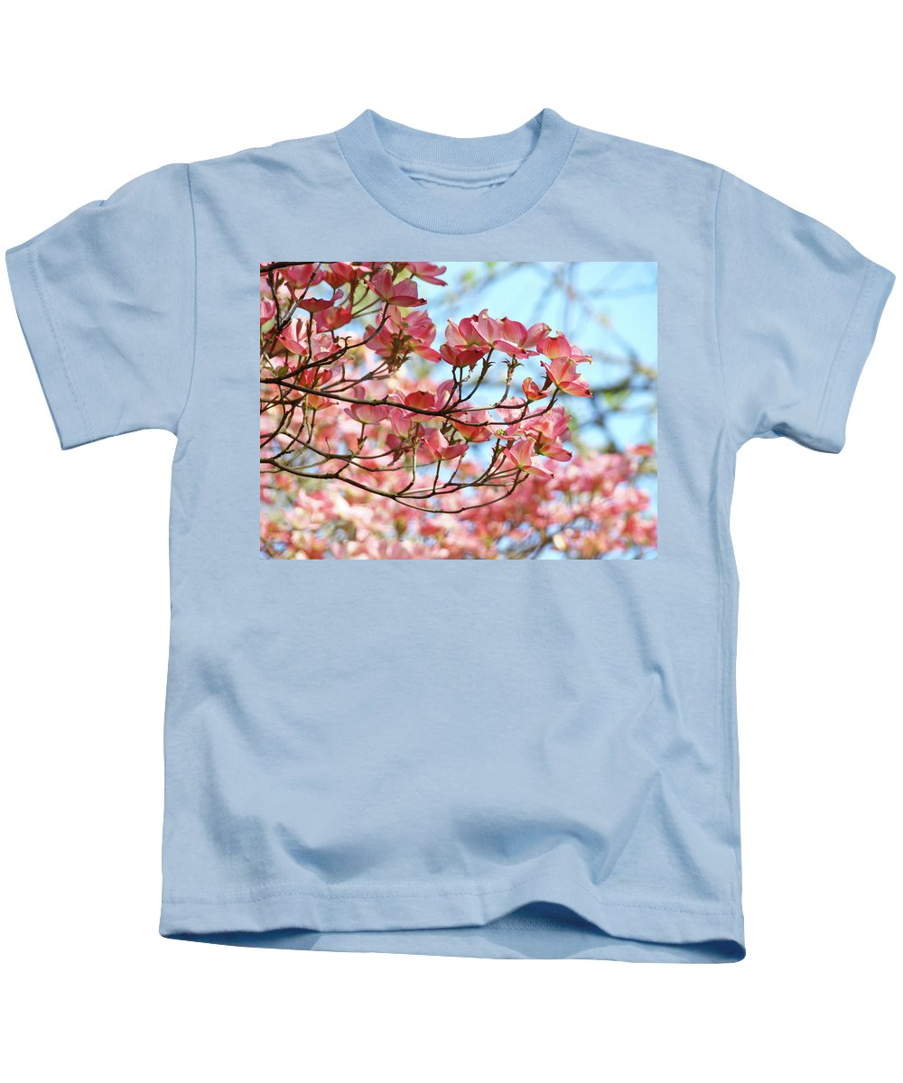Dogwood Kids T-Shirt featuring the photograph Dogwood Tree Landscape Pink Dogwood Flowers Art by Baslee Troutman