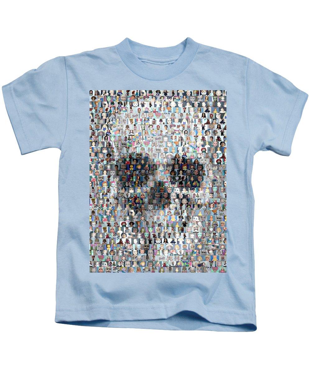 Barbie Kids T-Shirt featuring the mixed media Dolls Skull Mosaic by Paul Van Scott