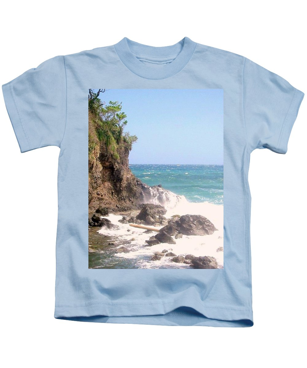 Dominica Kids T-Shirt featuring the photograph Dominica North Atlantic Coast by Ian MacDonald