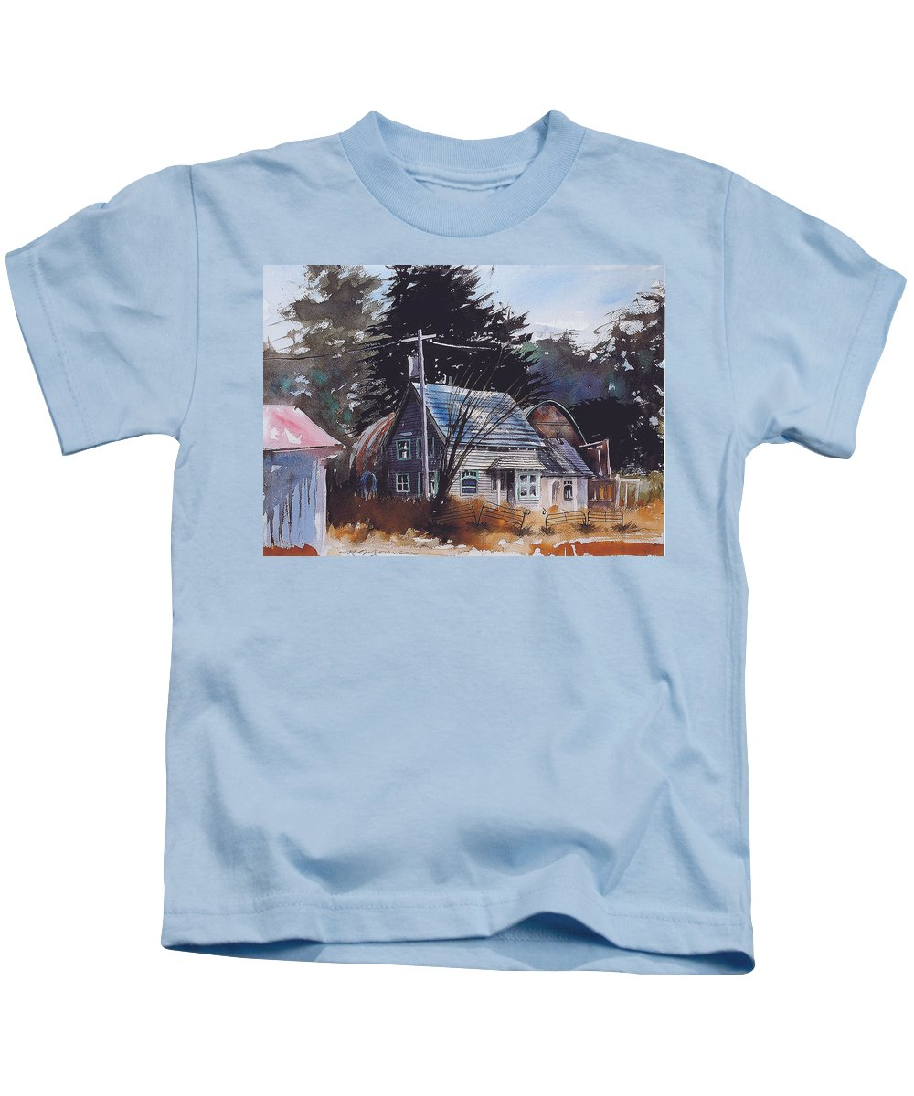 Old House Kids T-Shirt featuring the painting Down by the Swamp by Ron Morrison