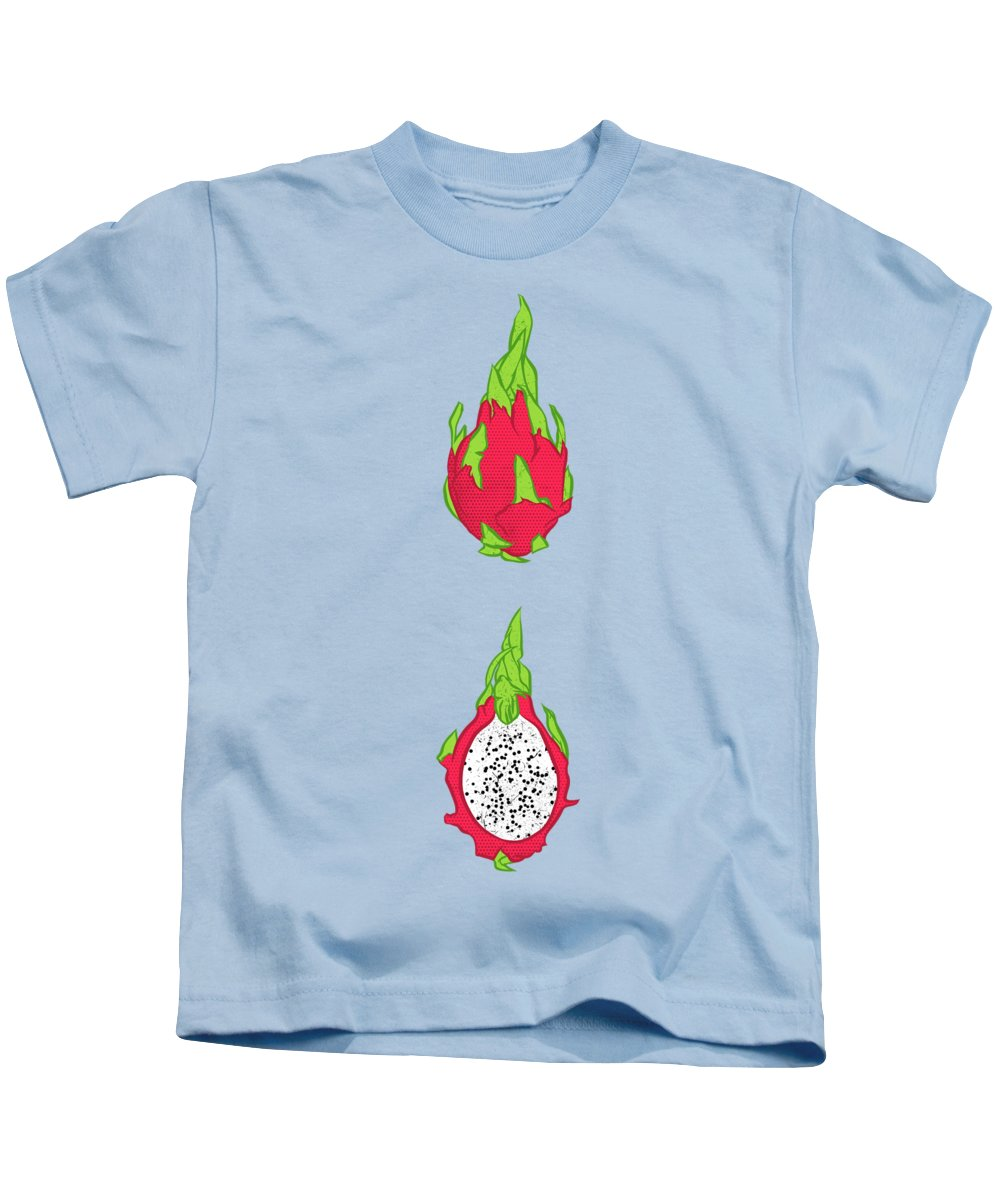 Pitaya Kids T-Shirt featuring the digital art Dragon Fruit by Evgenia Chuvardina