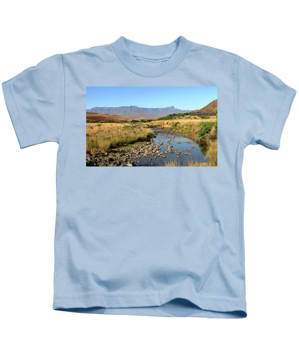 Drakensberg Kids T-Shirt featuring the photograph Drakensberg Amphitheatre Mountain Range In Kwazulu Natal, South Africa by Wesley Lazarus