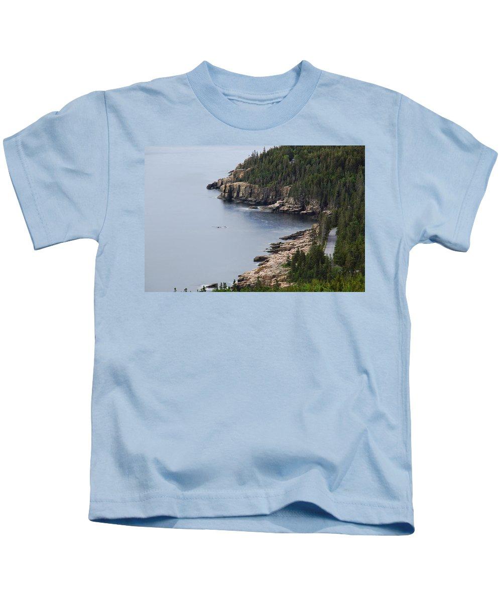 Road Kids T-Shirt featuring the photograph Dramatic Maine Coastline by Brian Kamprath