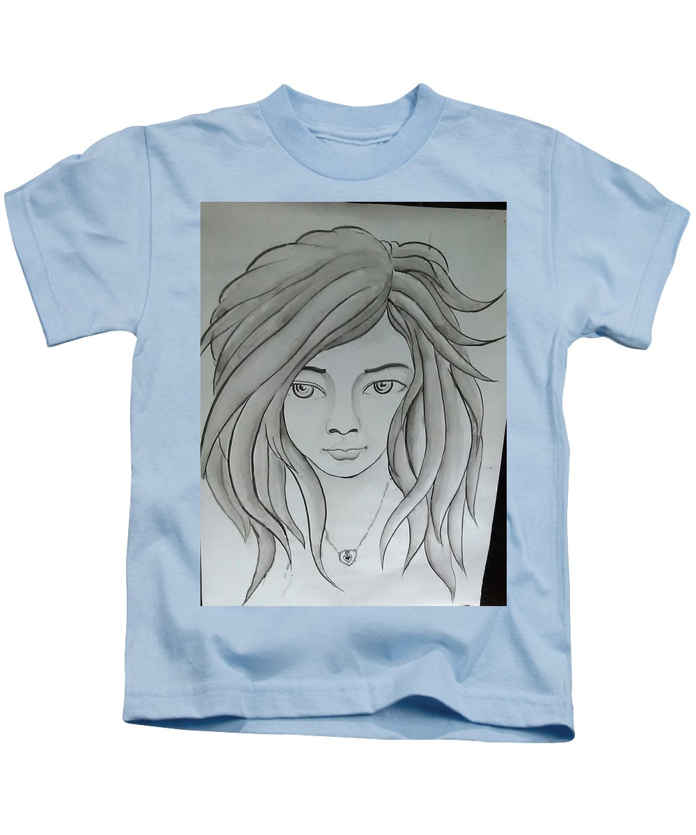 Kids T-Shirt featuring the painting Dream Girl by Pritam Modak