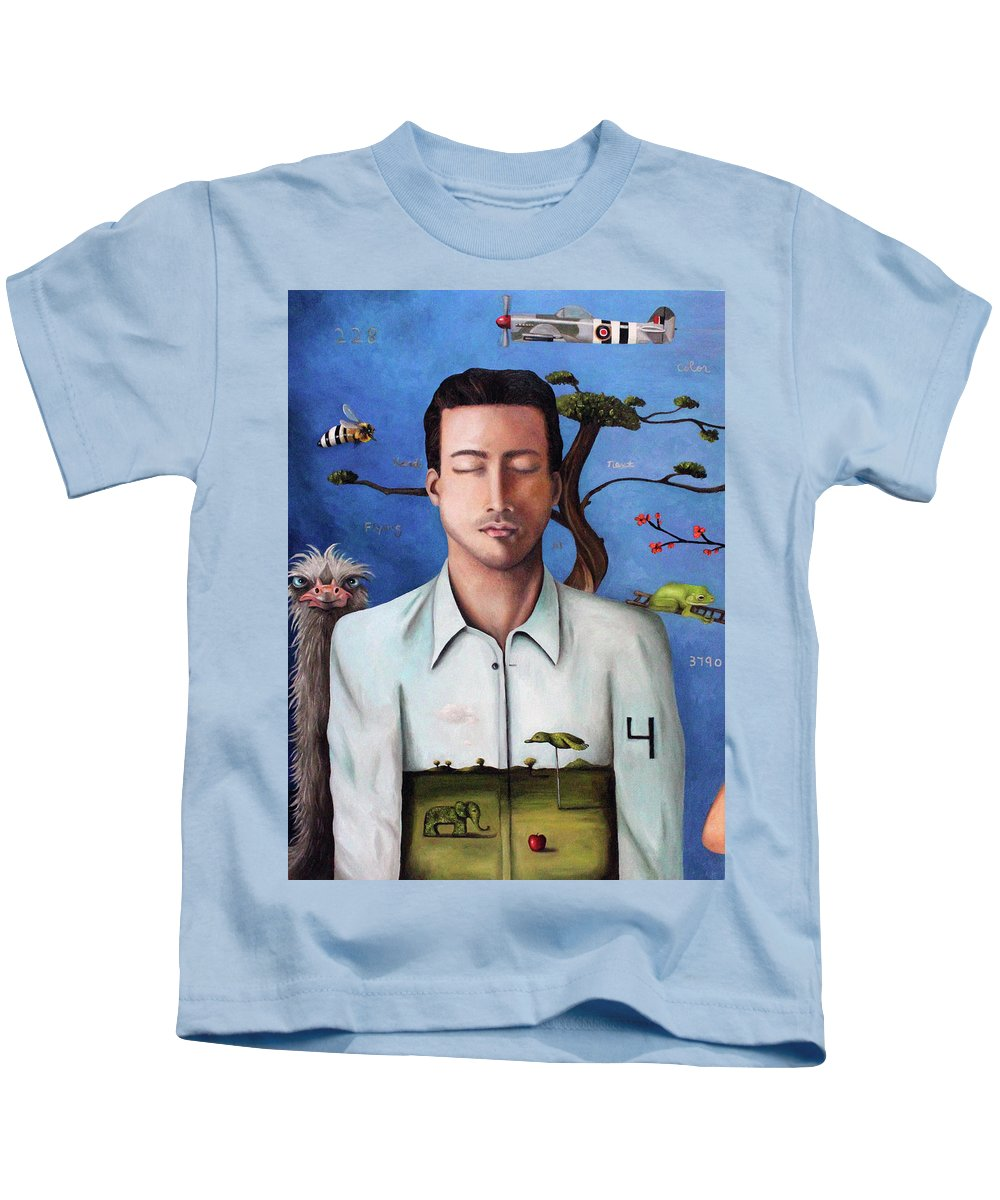 Plane Kids T-Shirt featuring the painting Dream Within A Dream 2 by Leah Saulnier The Painting Maniac