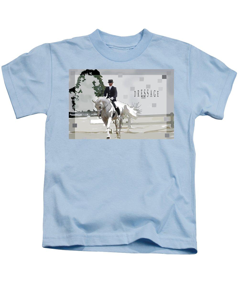 Jenny Gandert Kids T-Shirt featuring the digital art Dressage by Jenny Gandert