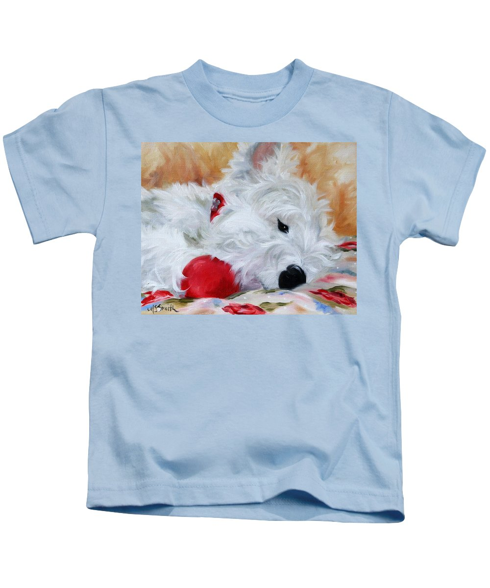 Westie Kids T-Shirt featuring the painting Drifting Off by Mary Sparrow