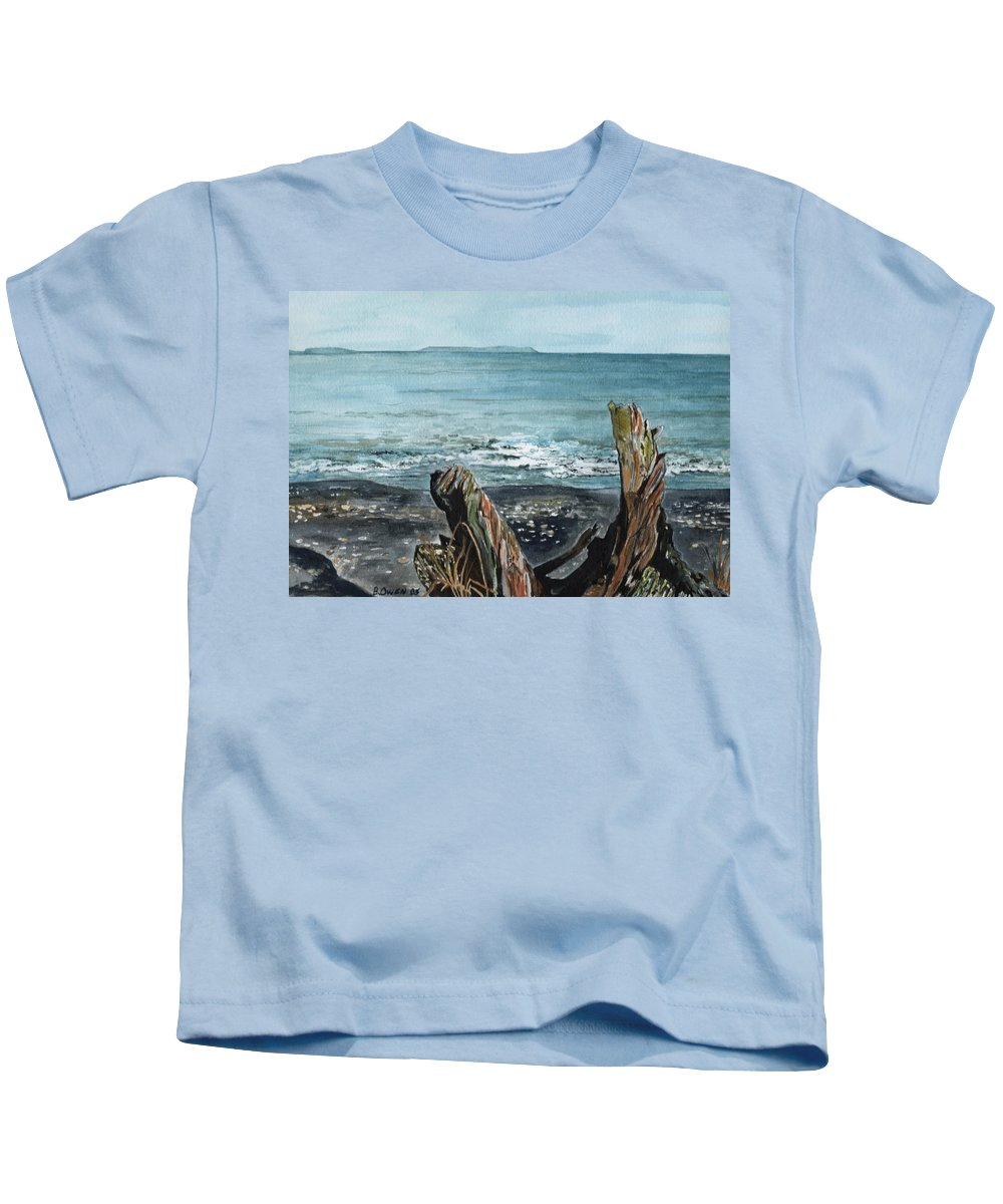 Watercolor Kids T-Shirt featuring the painting Driftwood by Brenda Owen