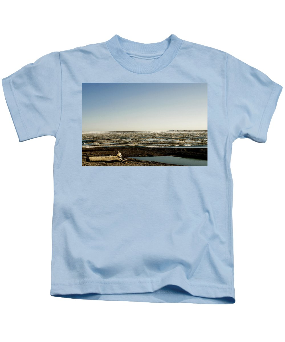 Driftwood Kids T-Shirt featuring the photograph Driftwood On Arctic Beach by Anthony Jones