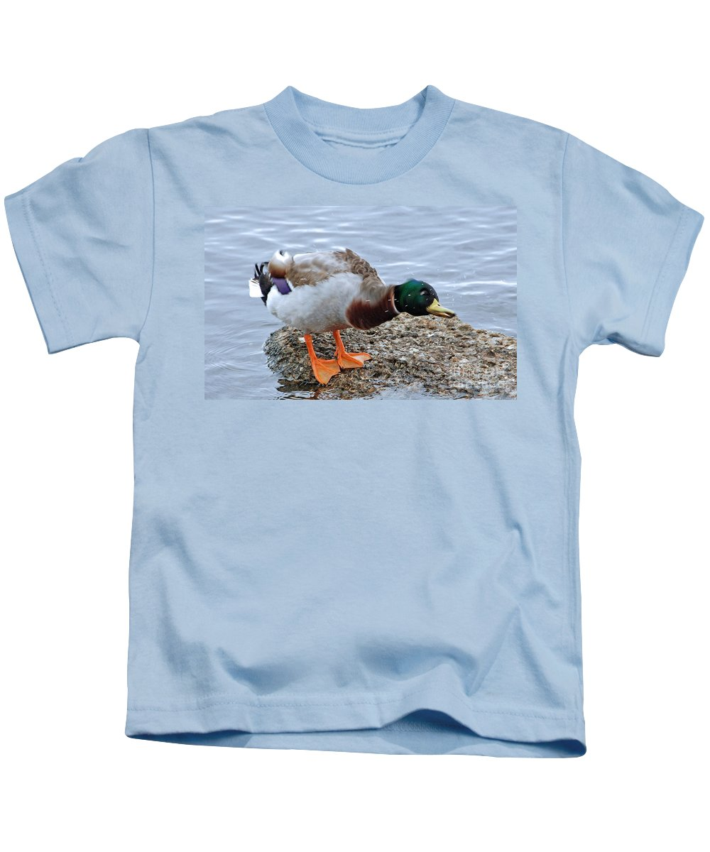 Duck Kids T-Shirt featuring the photograph Duck Bath Alantic Beaches Nc by Tommy Anderson
