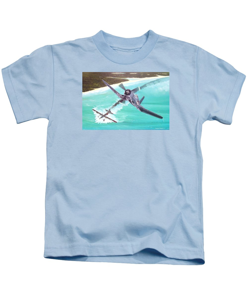 Military Kids T-Shirt featuring the painting Duel Over New Georgia by Marc Stewart