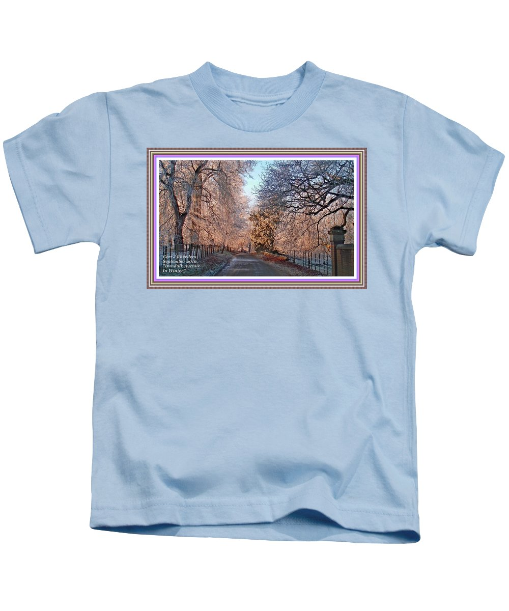 Winter Kids T-Shirt featuring the painting Dundalk Avenue In Winter. L A With Decorative Ornate Printed Frame. by Gert J Rheeders