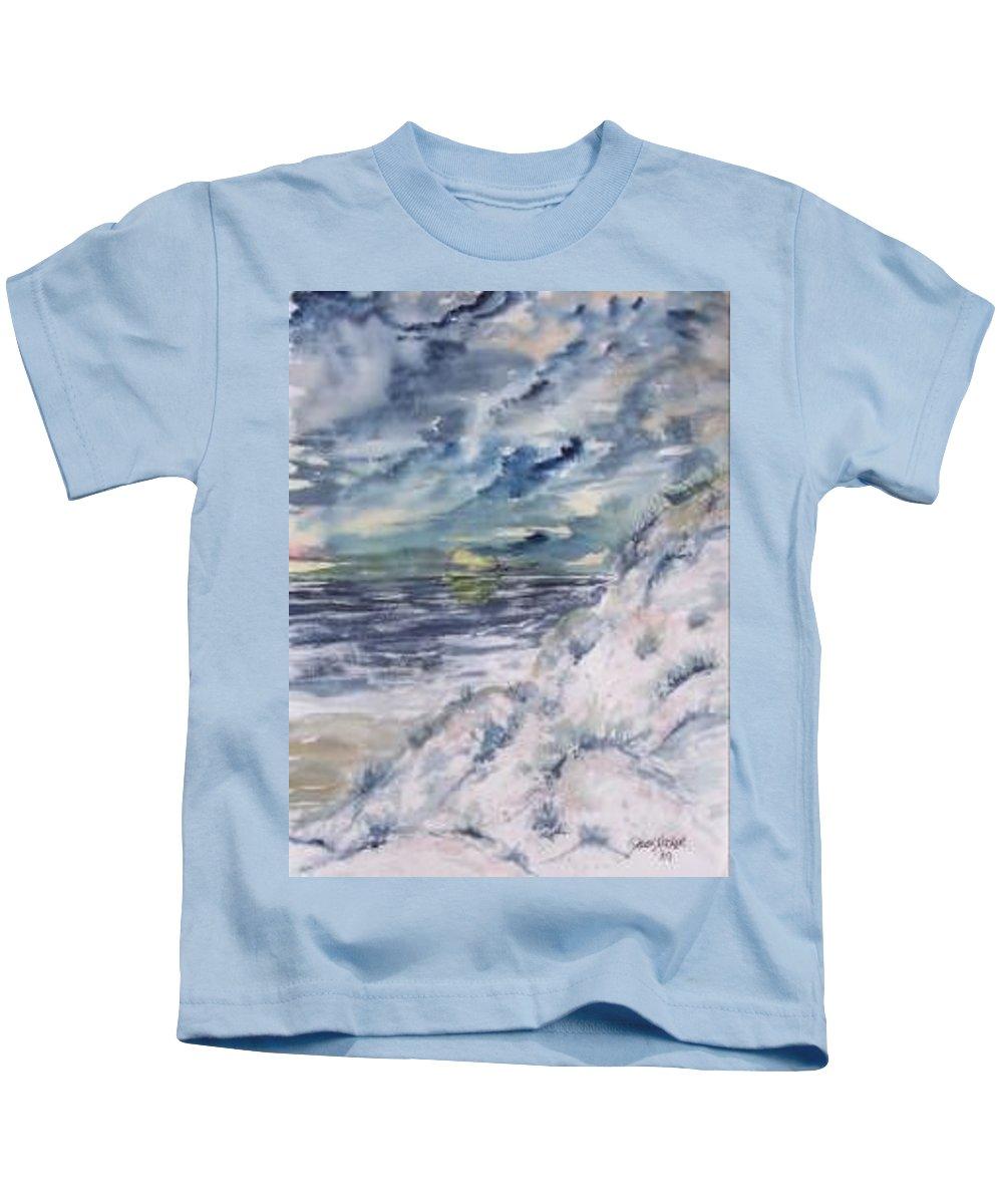 Seascape Kids T-Shirt featuring the painting Dunes 2 Seascape Painting Poster Print by Derek Mccrea