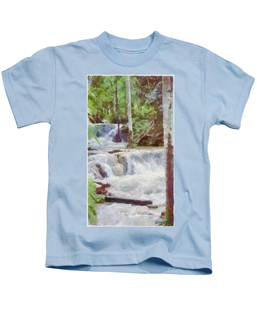 Dunn River Kids T-Shirt featuring the painting Dunn River Falls by Jeffrey Kolker