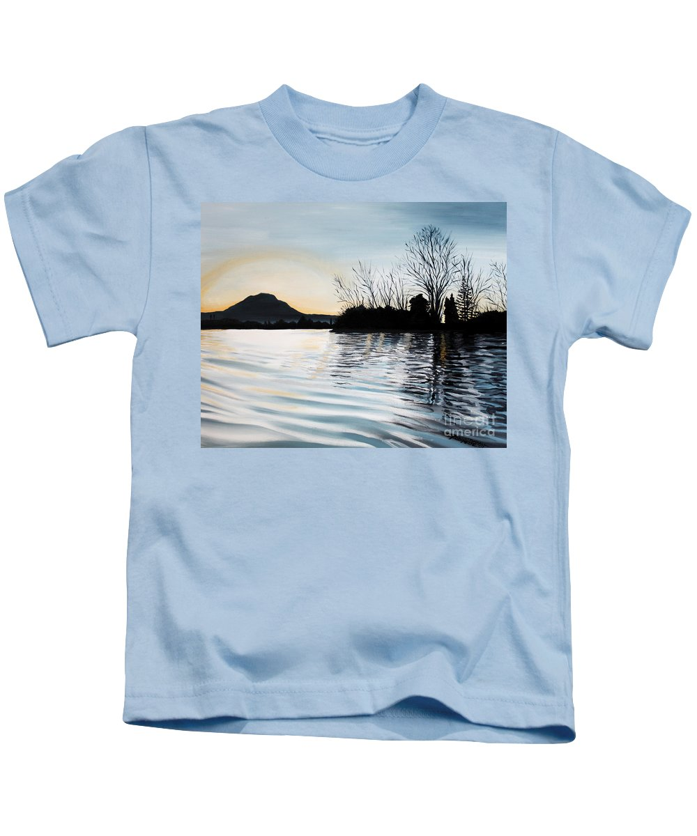 Dusk Kids T-Shirt featuring the painting Dusk On Diablo by Elizabeth Robinette Tyndall