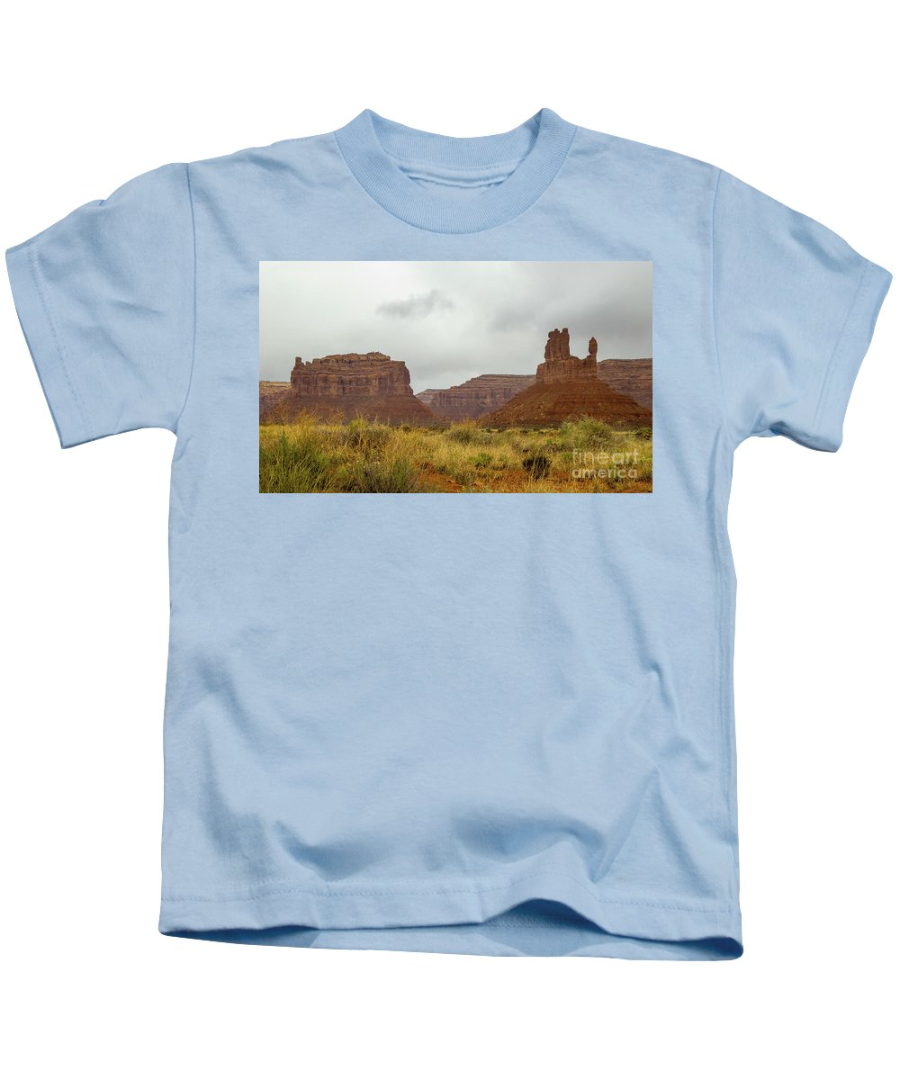Valley Of The Gods Kids T-Shirt featuring the photograph Dust Storm by Jerry Sellers