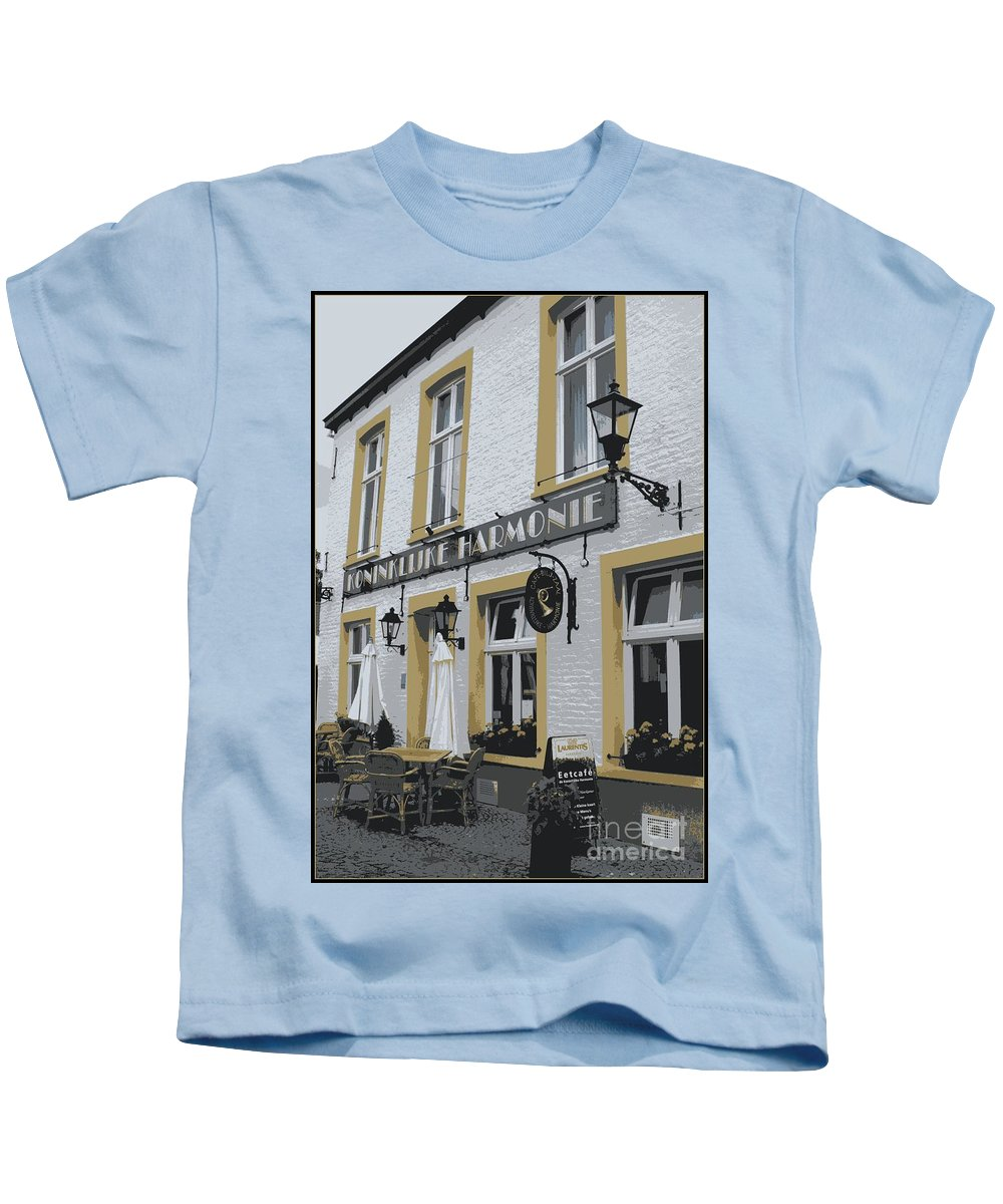 Gray And Yellow Kids T-Shirt featuring the photograph Dutch Cafe - Digital by Carol Groenen