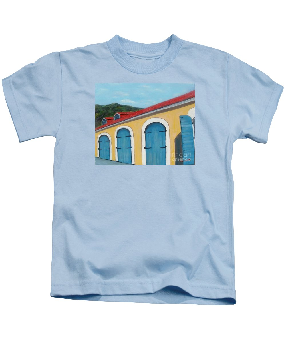 Doors Kids T-Shirt featuring the painting Dutch Doors Of St. Thomas by Laurie Morgan