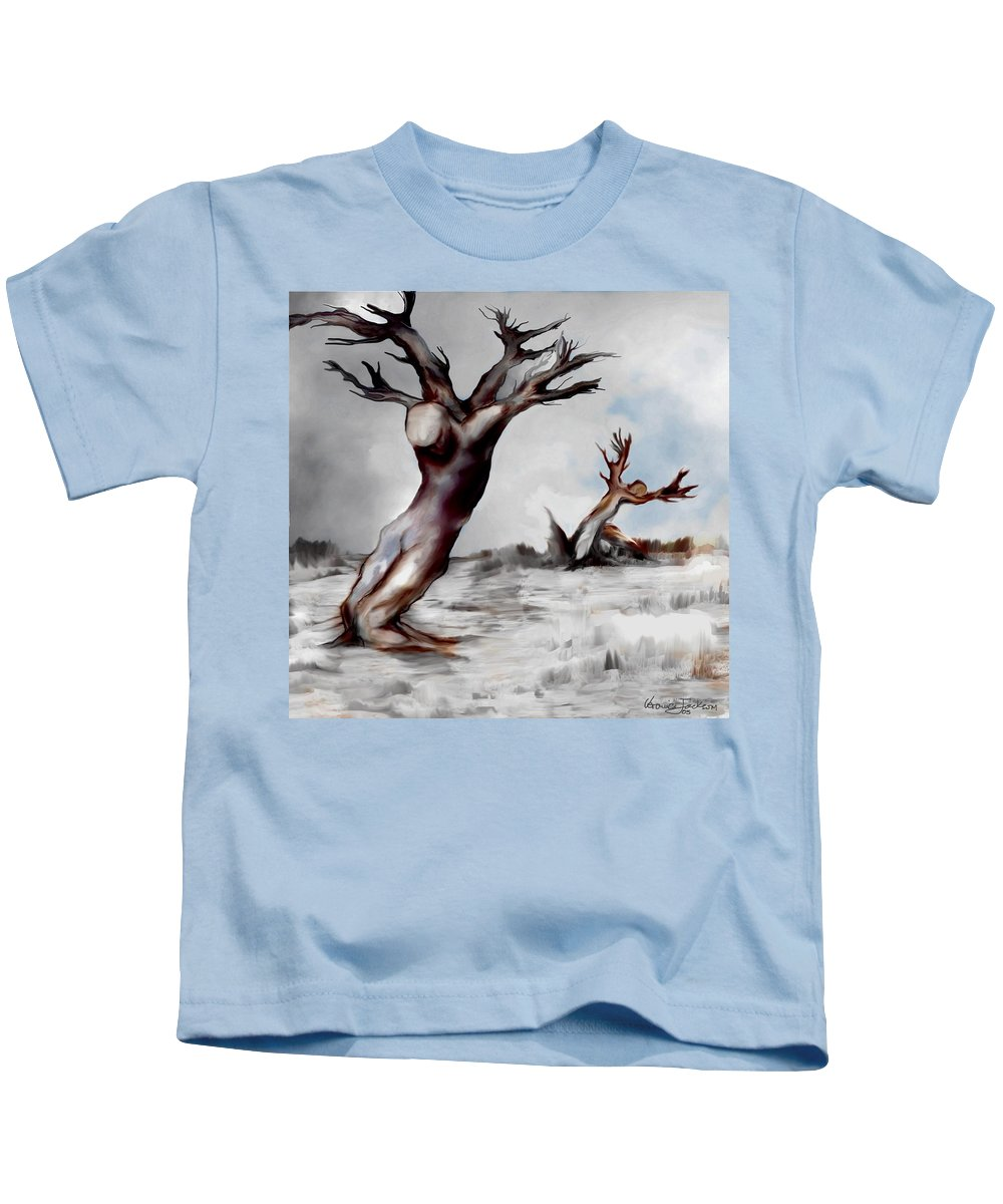 Trees Soul Nature Sky Storm Freedom Kids T-Shirt featuring the mixed media Earthbound by Veronica Jackson