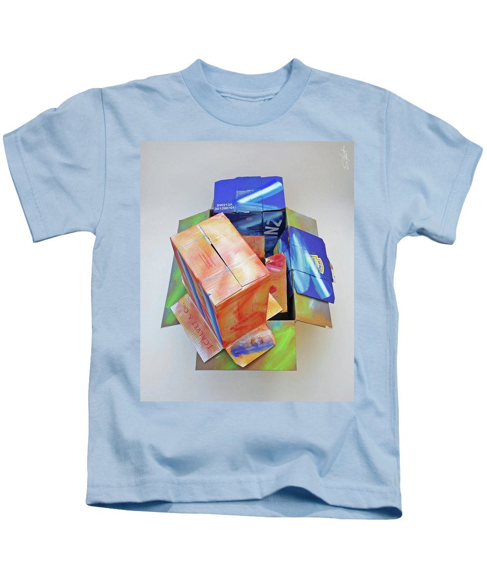 Cardboard Kids T-Shirt featuring the mixed media Earthquake 2 by Charles Stuart