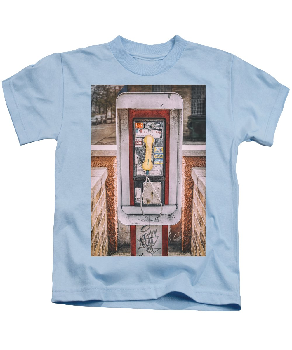 Pay Phone Kids T-Shirt featuring the photograph East Side Pay Phone by Scott Norris