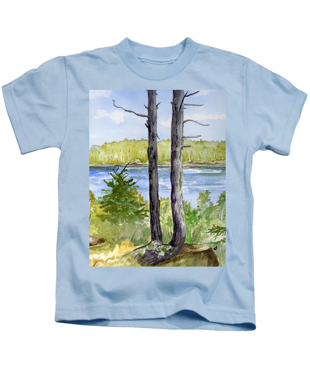Landscape Seascape Trees Ocean Sea Maine Kids T-Shirt featuring the painting Eastport Maine Coastal Afternoon by Brenda Owen