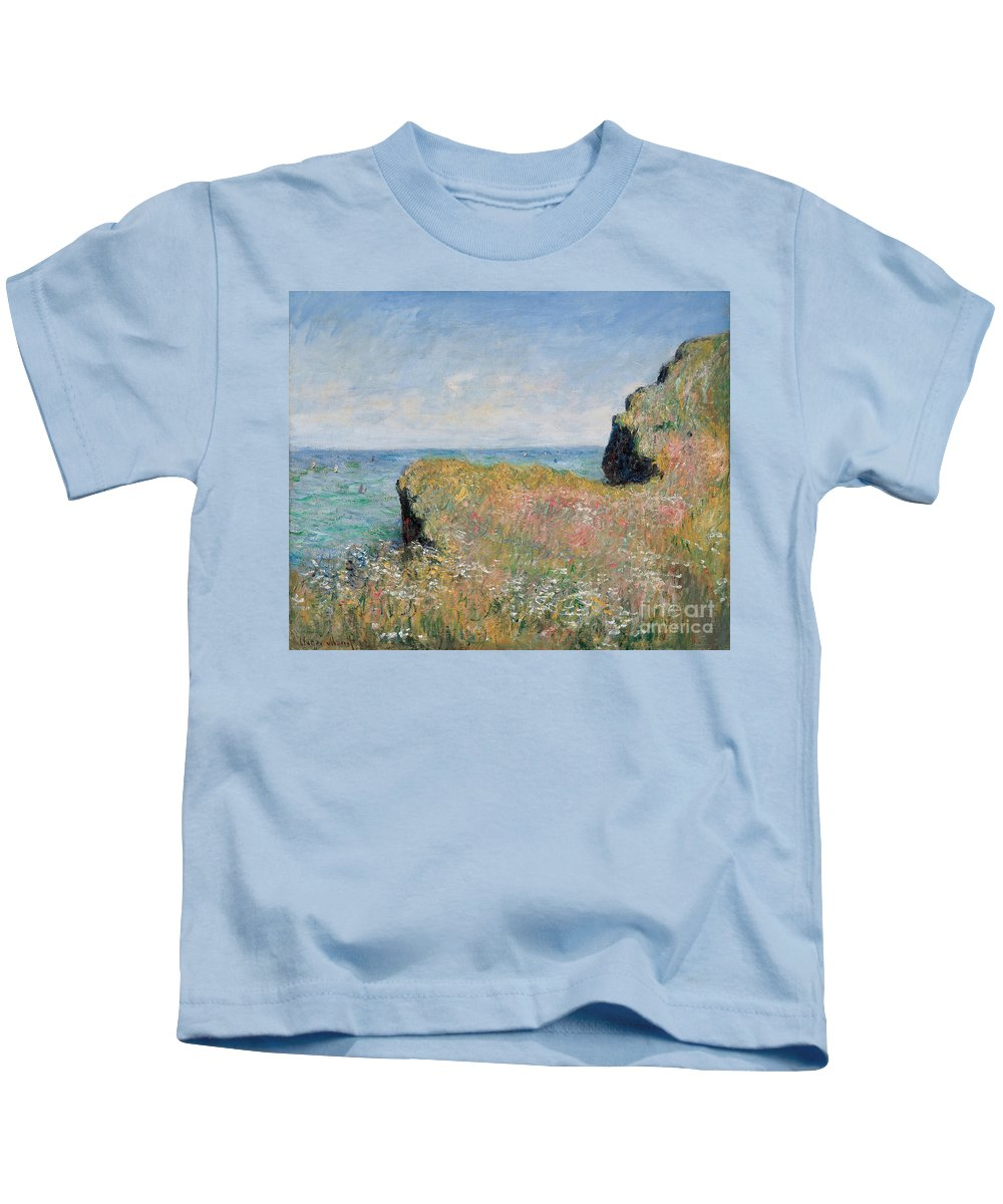 Monet Kids T-Shirt featuring the painting Edge Of The Cliff Pourville by Claude Monet