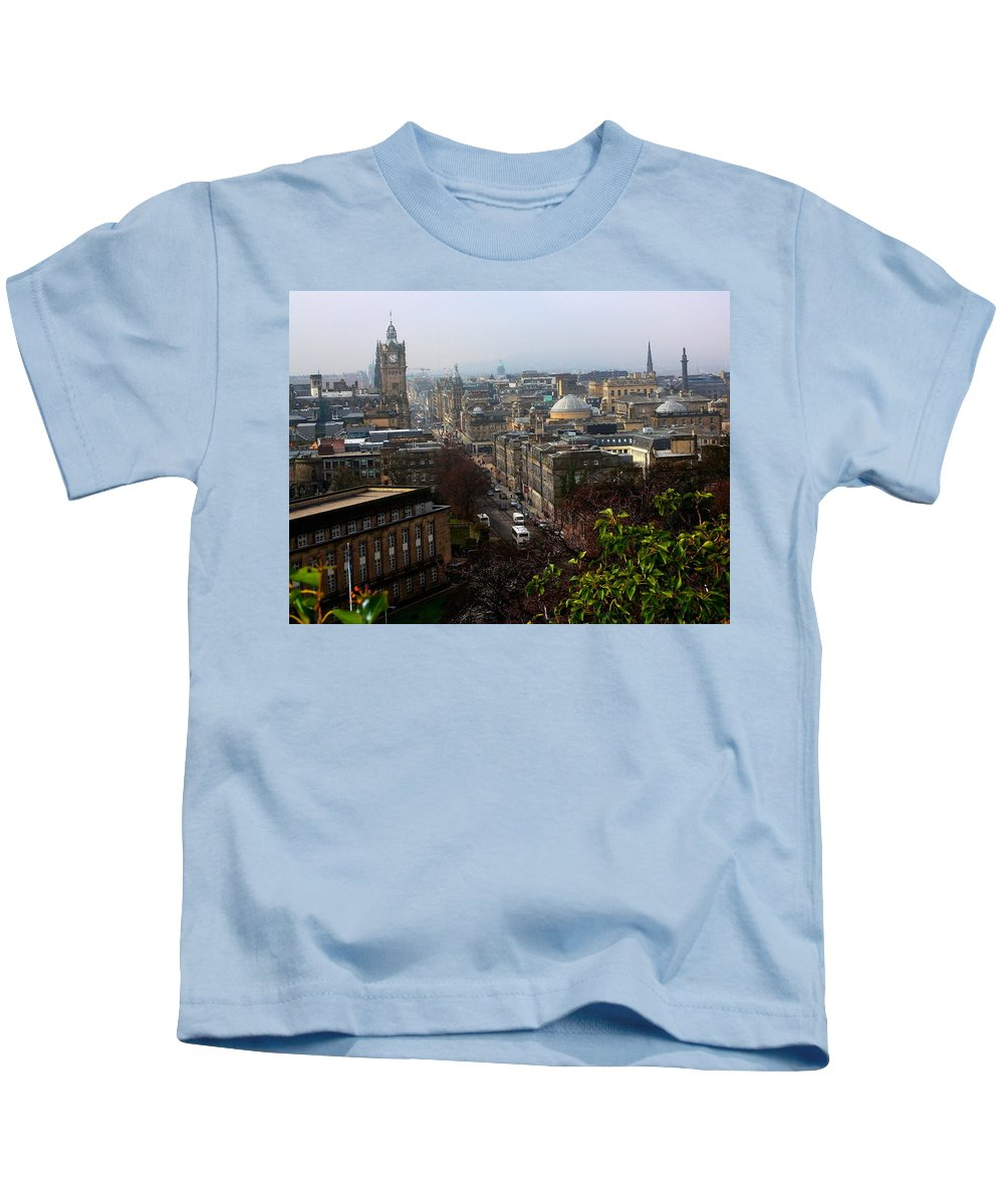 Edinburgh Kids T-Shirt featuring the photograph Edinburgh Princess Street by Jeff Townsend