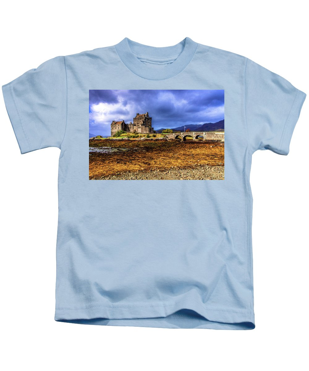Bridge Kids T-Shirt featuring the photograph Eilean Donan Castle by John Frid