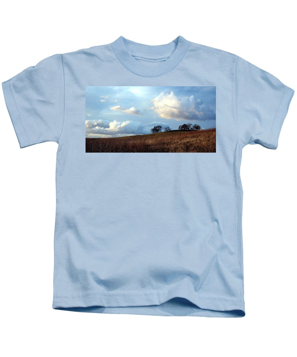 California Scenes Kids T-Shirt featuring the photograph El Dorado Hills Skyscape by Norman Andrus