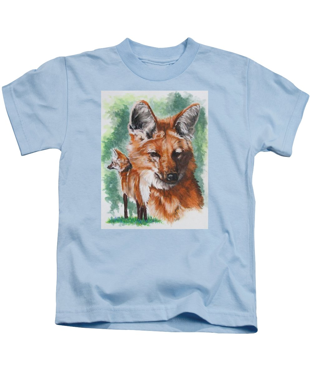Canine Kids T-Shirt featuring the mixed media Elegant by Barbara Keith