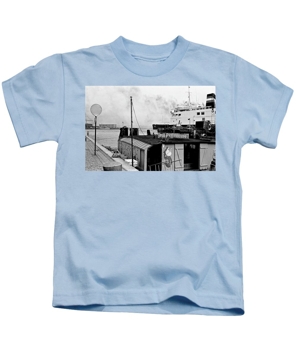 B&w Kids T-Shirt featuring the photograph Elsinore Port Denmark by Lee Santa