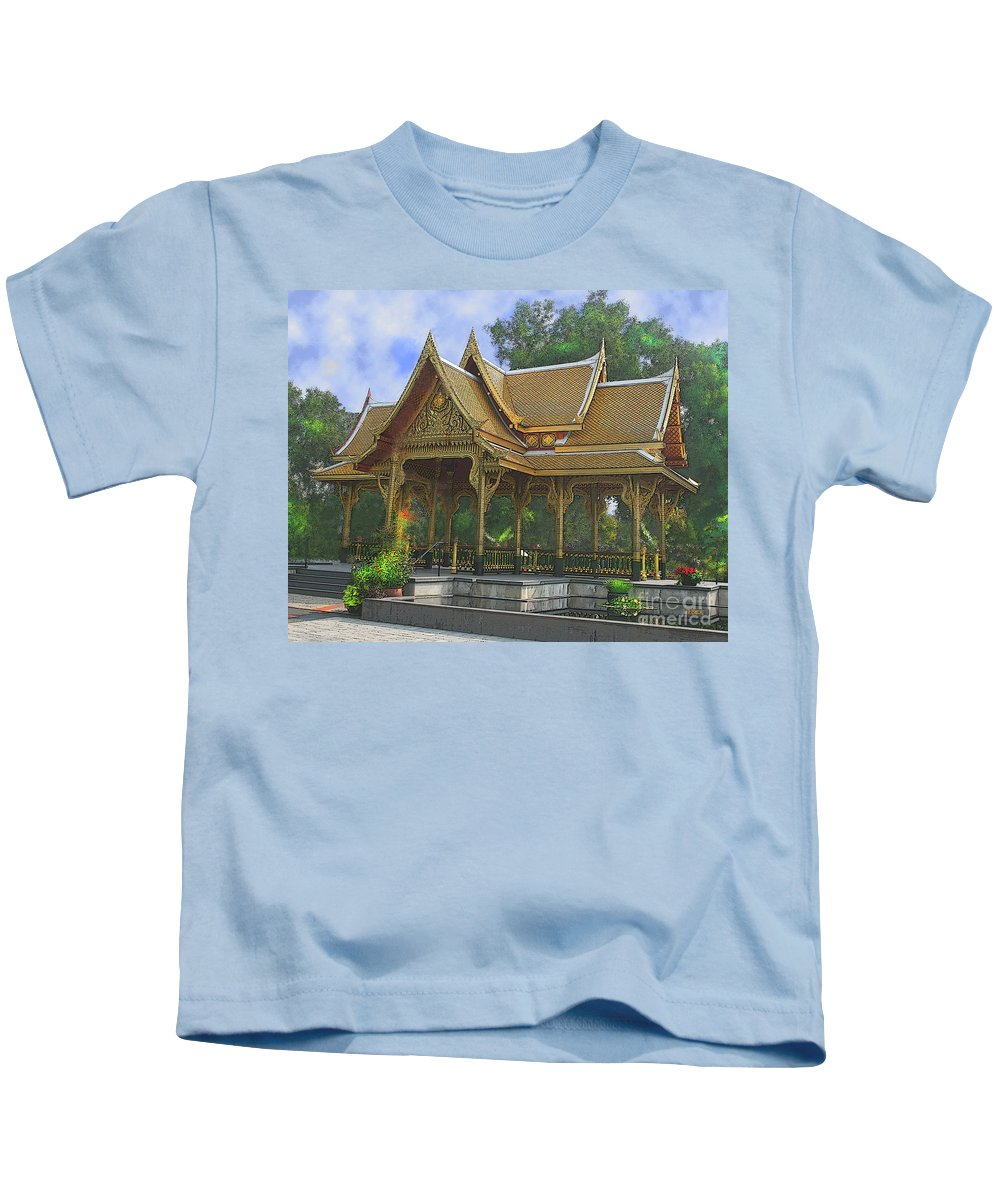 Enchanted Garden Kids T-Shirt featuring the digital art Enchanted Garden by John Beck
