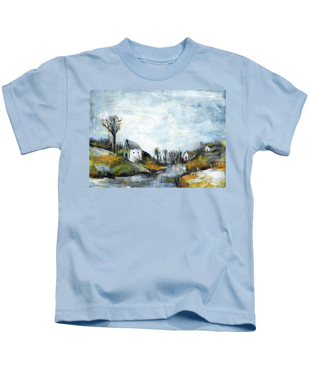 Landscape Kids T-Shirt featuring the painting End Of Winter - Acrylic Landscape Painting On Cotton Canvas by Aniko Hencz