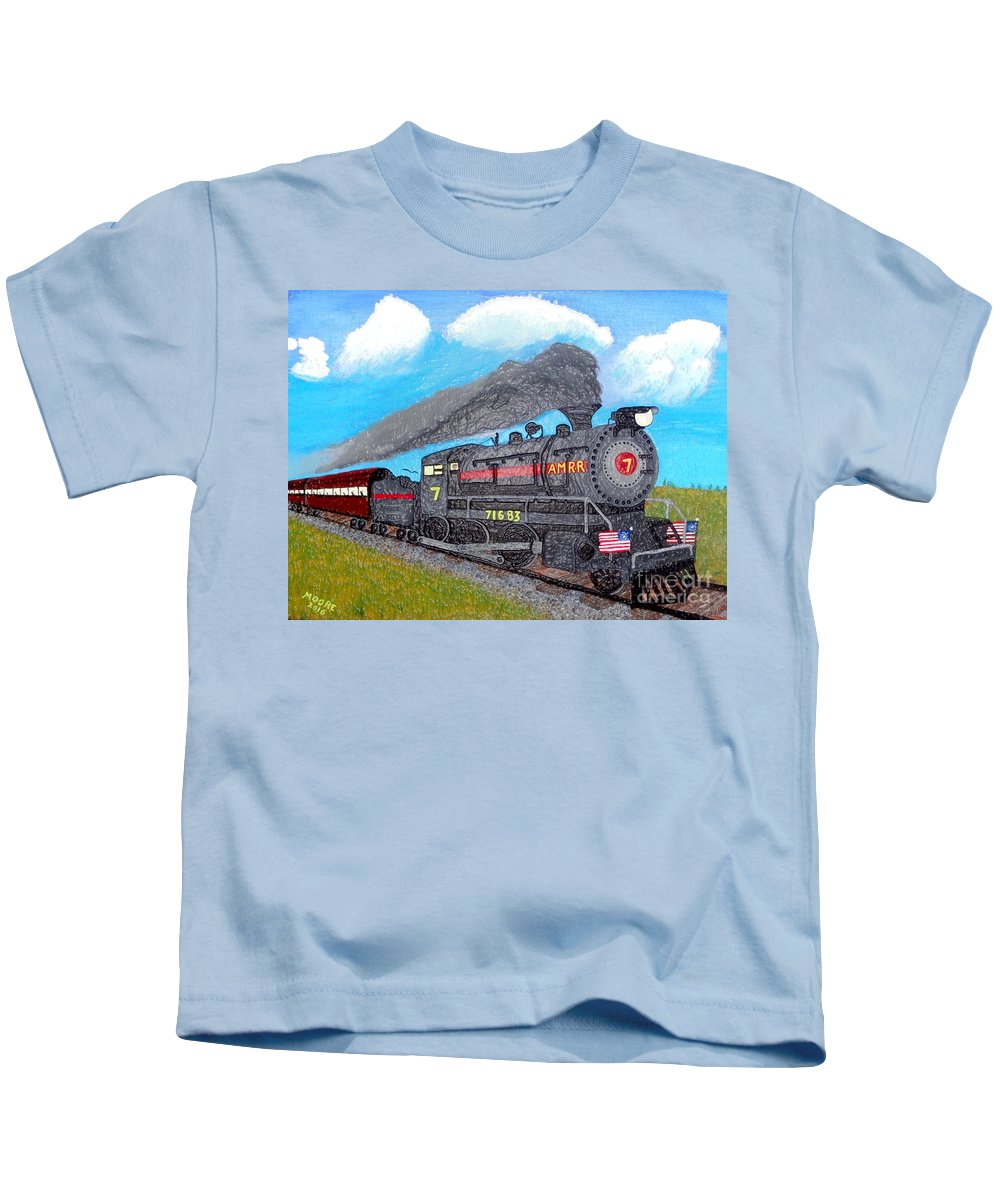 Steam Kids T-Shirt featuring the photograph Engine #7 D1 by Michael Moore