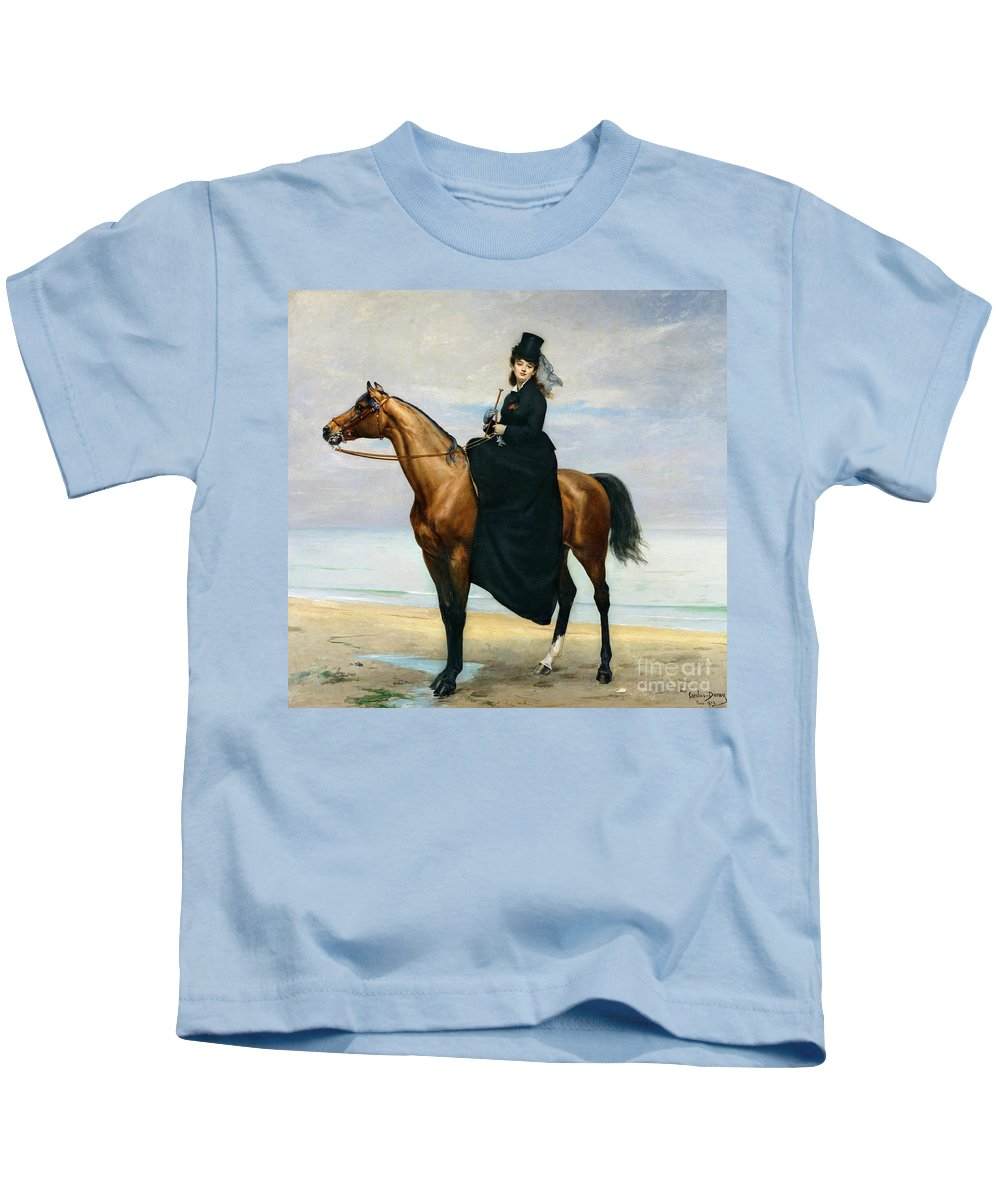 Equestrian Kids T-Shirt featuring the painting Equestrian Portrait Of Mademoiselle Croizette by Charles Emile Auguste Carolus Duran