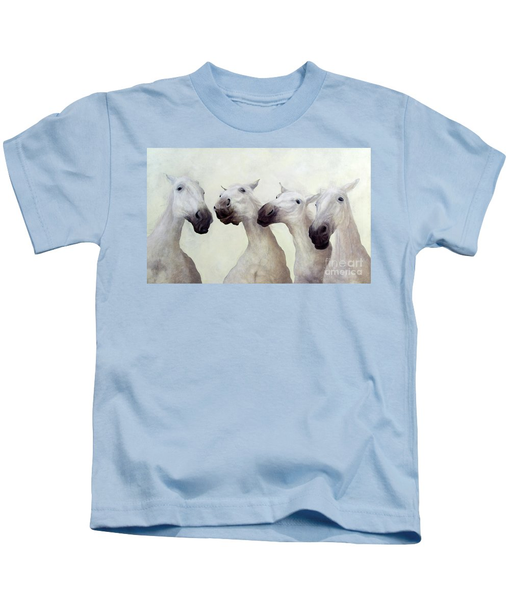 Horses Kids T-Shirt featuring the painting Equus Four by Odile Kidd