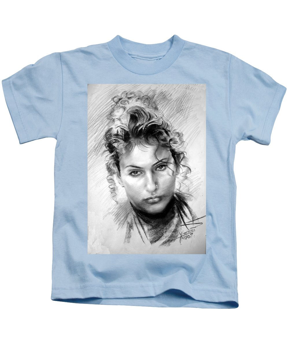 Portrait Kids T-Shirt featuring the drawing Erbora by Ylli Haruni
