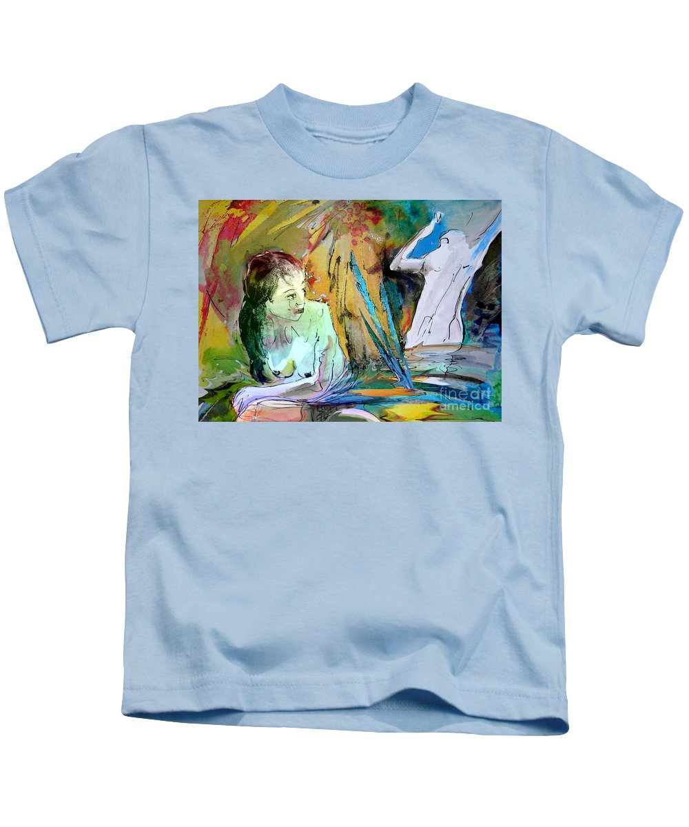 Miki Kids T-Shirt featuring the painting Eroscape 15 1 by Miki De Goodaboom