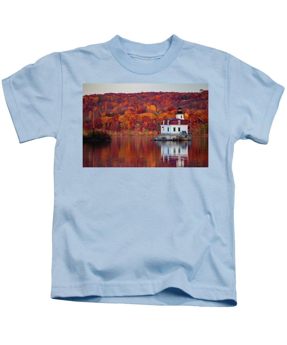 Lighthouse Kids T-Shirt featuring the photograph Esopus Lighthouse In Late Fall #1 by Jeff Severson