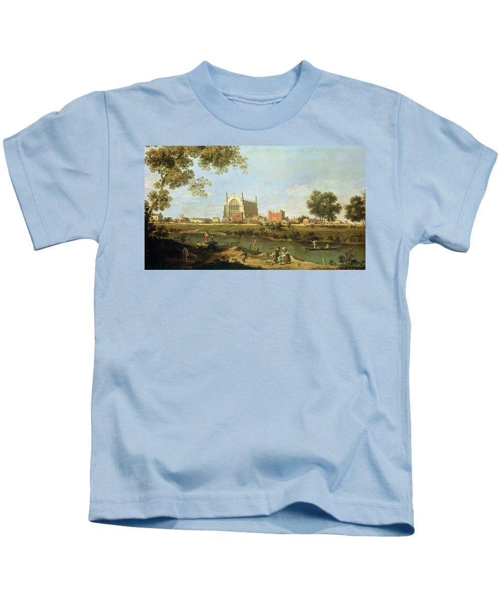 Eton Kids T-Shirt featuring the painting Eton College by Canaletto