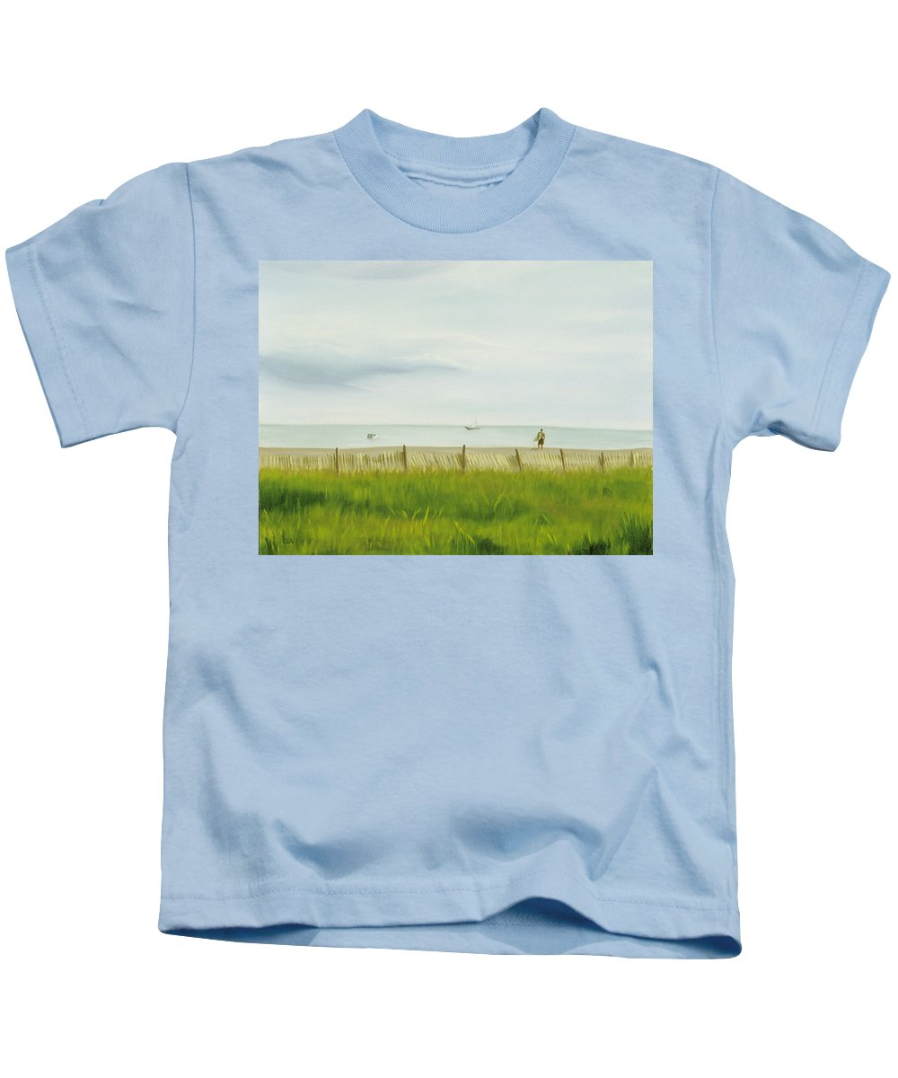 Seascape Kids T-Shirt featuring the painting Evening At Cape May by Lea Novak